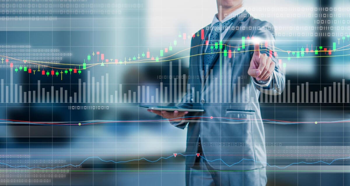 Noble Systems Image | businessman touching chart, financial technology concept